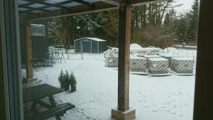 Fra stuen kan vi se skuret, her dejligt snevejr