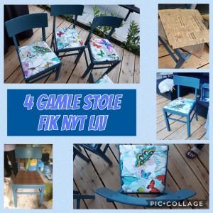 Så blev 4 æld gamle blå stole til 150kr frisket op...